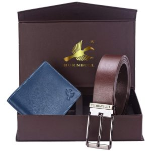 Hornbull Men's Navy Wallet and Brown Belt Combo
