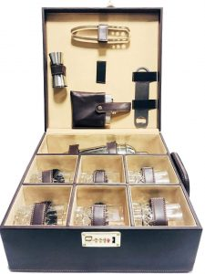 Portable Leatherette Briefcase Bar Set