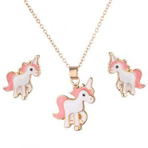 SANNIDHI® Alloy Pink Unicorn Jewelry Set