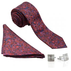 VIBHAVARI Men's Silk Tie, Pocket Square, and Cuff Link Set